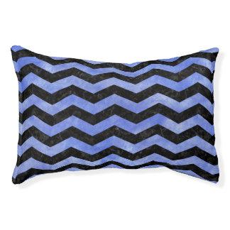 CHEVRON3 BLACK MARBLE & BLUE WATERCOLOR PET BED