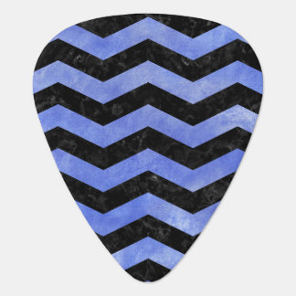 CHEVRON3 BLACK MARBLE & BLUE WATERCOLOR PLECTRUM