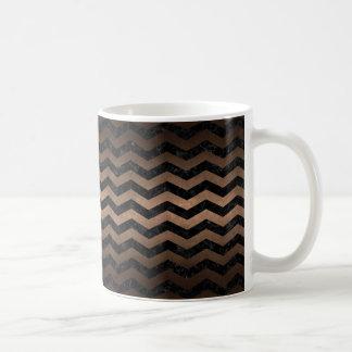 CHEVRON3 BLACK MARBLE & BRONZE METAL COFFEE MUG