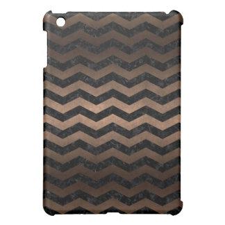 CHEVRON3 BLACK MARBLE & BRONZE METAL iPad MINI COVER
