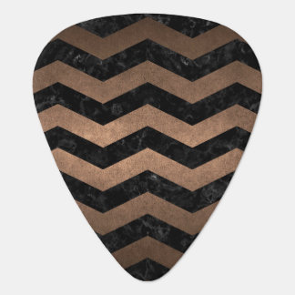 CHEVRON3 BLACK MARBLE & BRONZE METAL PLECTRUM