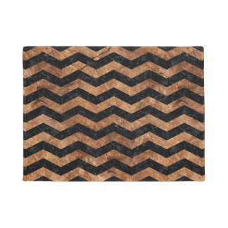 CHEVRON3 BLACK MARBLE & BROWN STONE DOORMAT