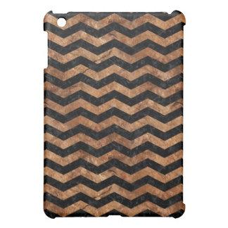 CHEVRON3 BLACK MARBLE & BROWN STONE iPad MINI CASE