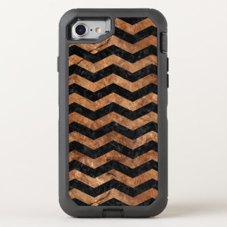 CHEVRON3 BLACK MARBLE & BROWN STONE OtterBox DEFENDER iPhone 8/7 CASE