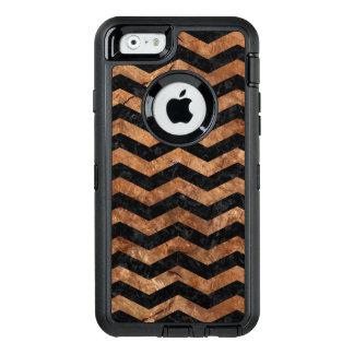 CHEVRON3 BLACK MARBLE & BROWN STONE OtterBox DEFENDER iPhone CASE