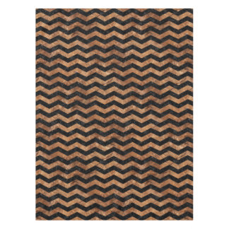 CHEVRON3 BLACK MARBLE & BROWN STONE TABLECLOTH