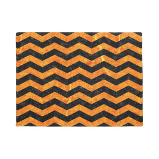 CHEVRON3 BLACK MARBLE & ORANGE MARBLE DOORMAT