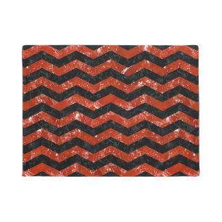 CHEVRON3 BLACK MARBLE & RED MARBLE DOORMAT