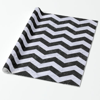 CHEVRON3 BLACK MARBLE & WHITE MARBLE WRAPPING PAPER