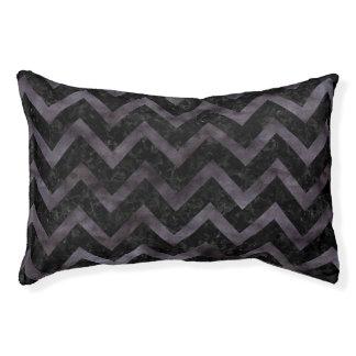 CHEVRON9 BLACK MARBLE & BLACK WATERCOLOR PET BED