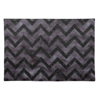 CHEVRON9 BLACK MARBLE & BLACK WATERCOLOR (R) PLACEMAT