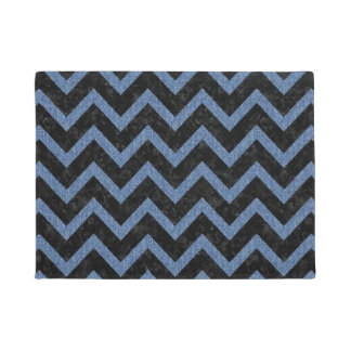 CHEVRON9 BLACK MARBLE & BLUE DENIM DOORMAT