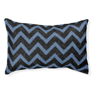 CHEVRON9 BLACK MARBLE & BLUE DENIM PET BED