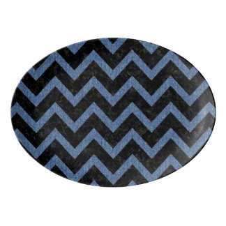 CHEVRON9 BLACK MARBLE & BLUE DENIM PORCELAIN SERVING PLATTER