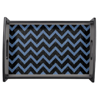 CHEVRON9 BLACK MARBLE & BLUE DENIM SERVING TRAY