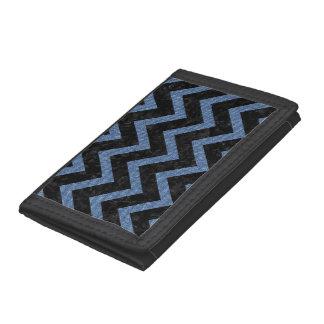 CHEVRON9 BLACK MARBLE & BLUE DENIM TRIFOLD WALLETS