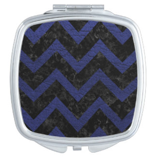 CHEVRON9 BLACK MARBLE & BLUE LEATHER MAKEUP MIRRORS