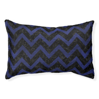 CHEVRON9 BLACK MARBLE & BLUE LEATHER PET BED