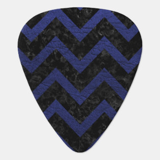 CHEVRON9 BLACK MARBLE & BLUE LEATHER PLECTRUM