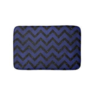 CHEVRON9 BLACK MARBLE & BLUE LEATHER (R) BATH MAT