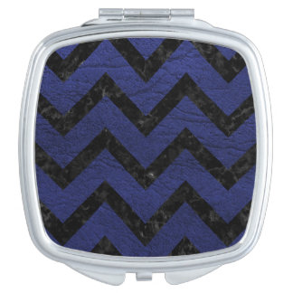 CHEVRON9 BLACK MARBLE & BLUE LEATHER (R) COMPACT MIRROR