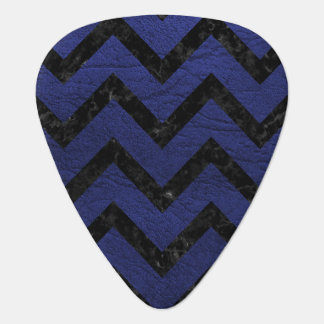 CHEVRON9 BLACK MARBLE & BLUE LEATHER (R) PLECTRUM