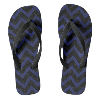 CHEVRON9 BLACK MARBLE & BLUE LEATHER THONGS