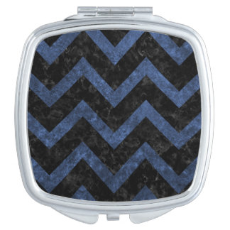 CHEVRON9 BLACK MARBLE & BLUE STONE COMPACT MIRRORS