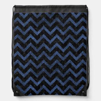 CHEVRON9 BLACK MARBLE & BLUE STONE DRAWSTRING BAG