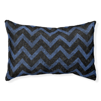 CHEVRON9 BLACK MARBLE & BLUE STONE PET BED