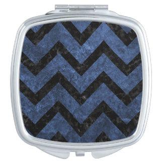 CHEVRON9 BLACK MARBLE & BLUE STONE (R) COMPACT MIRROR