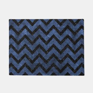 CHEVRON9 BLACK MARBLE & BLUE STONE (R) DOORMAT