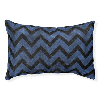 CHEVRON9 BLACK MARBLE & BLUE STONE (R) PET BED