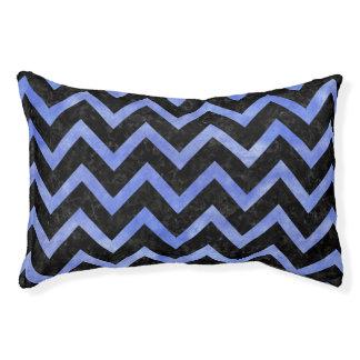 CHEVRON9 BLACK MARBLE & BLUE WATERCOLOR PET BED