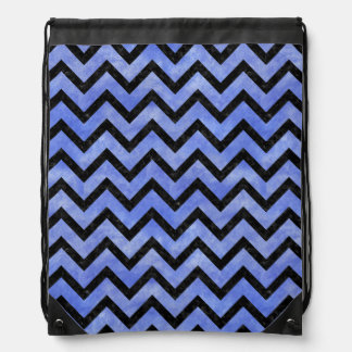 CHEVRON9 BLACK MARBLE & BLUE WATERCOLOR (R) DRAWSTRING BAG