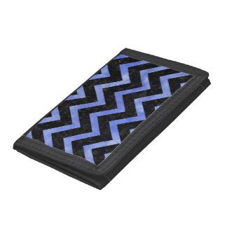 CHEVRON9 BLACK MARBLE & BLUE WATERCOLOR TRIFOLD WALLET