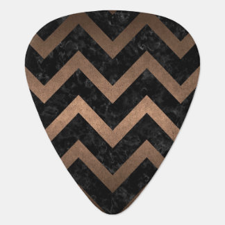 CHEVRON9 BLACK MARBLE & BRONZE METAL PLECTRUM