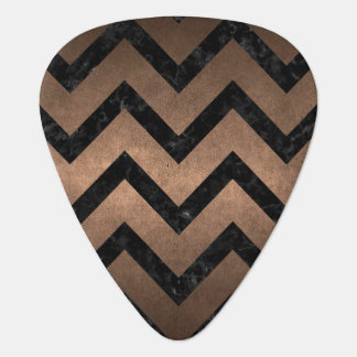 CHEVRON9 BLACK MARBLE & BRONZE METAL (R) PLECTRUM