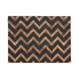 CHEVRON9 BLACK MARBLE & BROWN STONE DOORMAT
