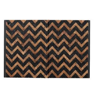CHEVRON9 BLACK MARBLE & BROWN STONE iPad AIR COVER