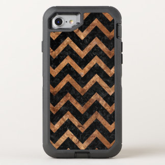 CHEVRON9 BLACK MARBLE & BROWN STONE OtterBox DEFENDER iPhone 8/7 CASE