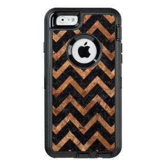 CHEVRON9 BLACK MARBLE & BROWN STONE OtterBox DEFENDER iPhone CASE