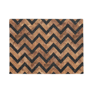 CHEVRON9 BLACK MARBLE & BROWN STONE (R) DOORMAT