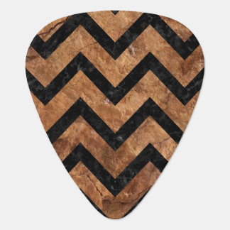 CHEVRON9 BLACK MARBLE & BROWN STONE (R) GUITAR PICK