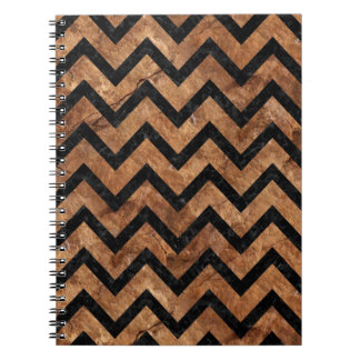 CHEVRON9 BLACK MARBLE & BROWN STONE (R) NOTEBOOKS