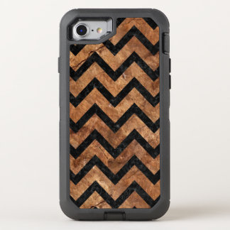 CHEVRON9 BLACK MARBLE & BROWN STONE (R) OtterBox DEFENDER iPhone 8/7 CASE