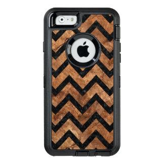CHEVRON9 BLACK MARBLE & BROWN STONE (R) OtterBox DEFENDER iPhone CASE