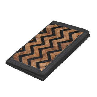 CHEVRON9 BLACK MARBLE & BROWN STONE (R) TRIFOLD WALLETS