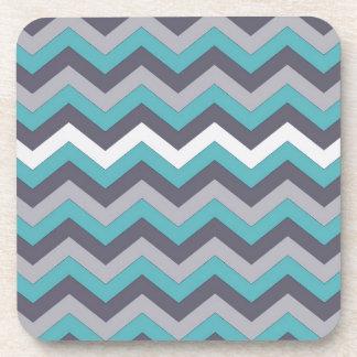 chevron 02 zigzag aqua silver coasters
