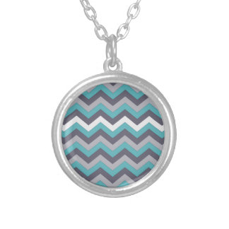 chevron 02 zigzag aqua silver necklaces